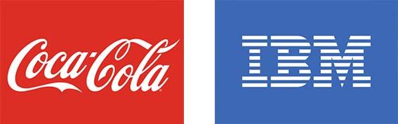 Logo của Cocacola và IBM