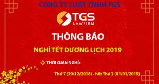 [Thông báo] Lịch nghỉ Tết dương lịch năm 2019 - TGS Law Firm