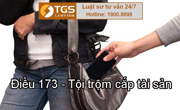 Điều 173 Bộ luật Hình sự 2015 quy định về tội trộm cắp tài sản