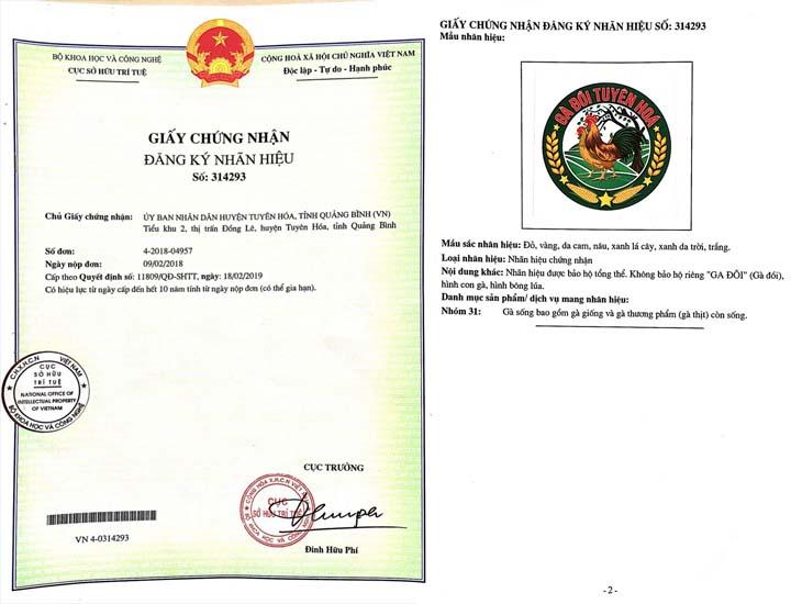 Giấy chứng nhận đăng ký nhãn hiệu Gà đồi Tuyên Hóa
