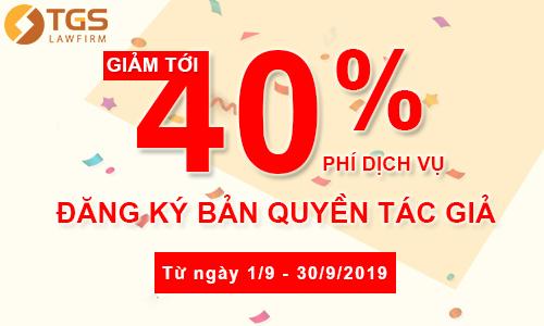 Giảm Tới 40% Phí Dịch Vụ Đăng Ký Bản Quyền Tác Giả