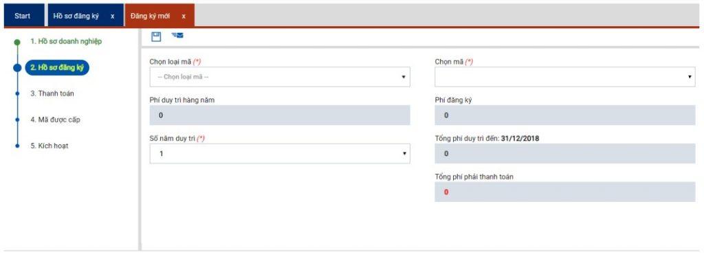 Giao diện đăng ký mới hồ sơ trên website vncp.gs1.org.vn