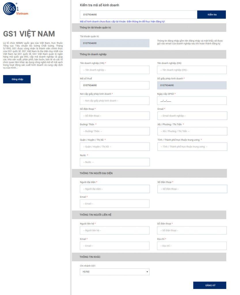 Giao diện đăng ký tài khoản