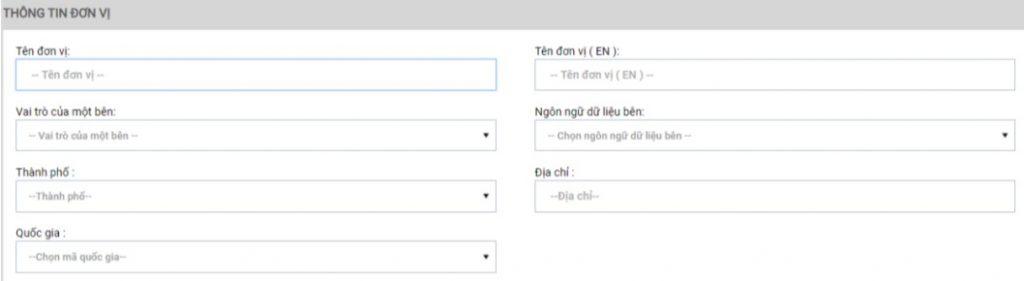 Giao diện nhập thông tin đơn vị website vnpc.gs1.org.vn