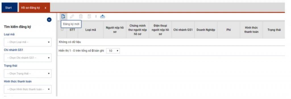 Giao diện quản lý hồ sơ đăng ký mã số mã vạch trực tuyến trên web vnpc.gs1.org.vn