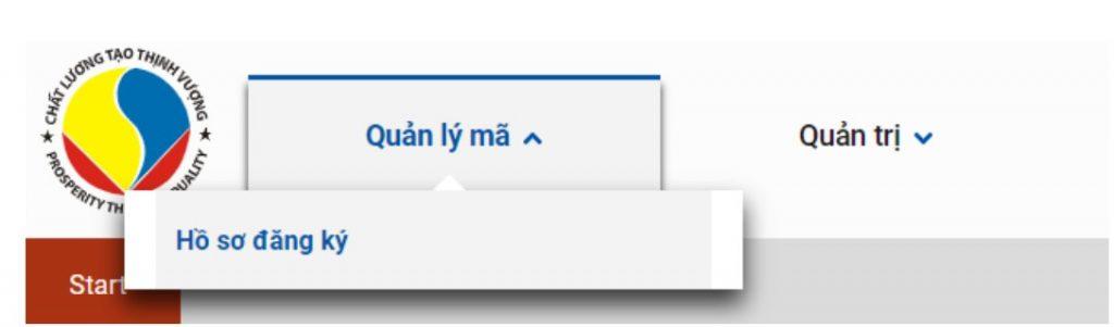 Giao diện sau khi đăng nhập website vnpc.gs1.org.vn
