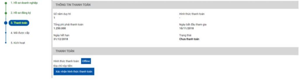 Giao diện thông tin thanh toán phí đăng ký mã vạch trực tuyến tại website vnpc.gs1.org.vn