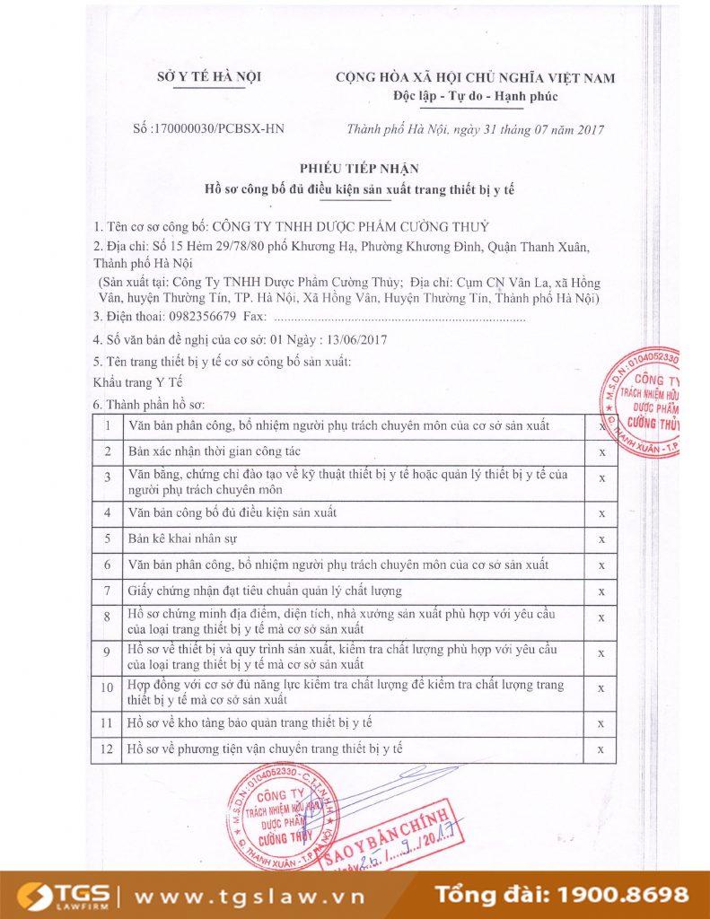 phiếu tiếp nhận hồ sơ công bố đủ điều kiện sản xuất trang thiết bị y tế