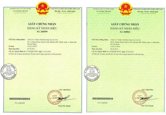 giấy chứng nhận đăng ký nhãn hiệu